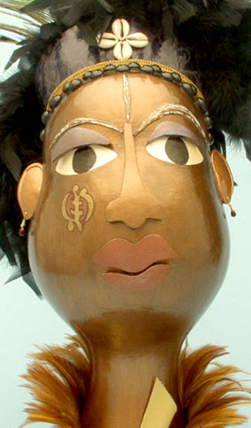 Gourd figure, Beauty Is Here Because I am Here by Sala Faruq.